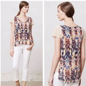 Anthropologie Maeve Grafica 100% Silk Tribal Top